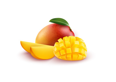 Vector illustration of Ripe fresh mango with slices and leaves