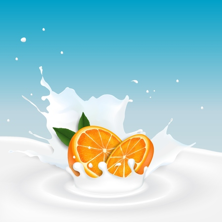 Vector illustration of Milk splash with orange fruit