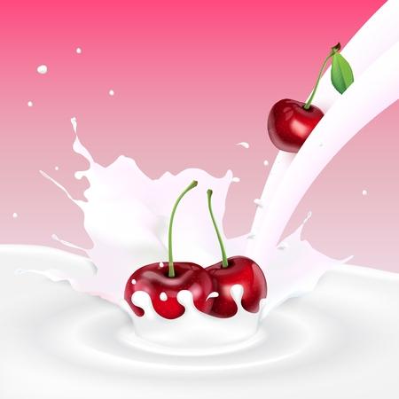 Vector illustration of Flowing milk splash with cherries fruits Illustration