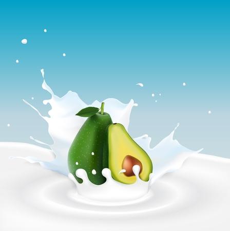 Vector illustration of Milk splash with avocado