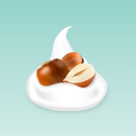 Vector illustration of Hazelnuts with yogurt