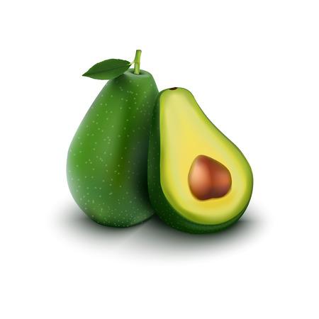 흰 배경에 고립 과일 아보카도
