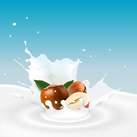 Milk splash with hazelnut