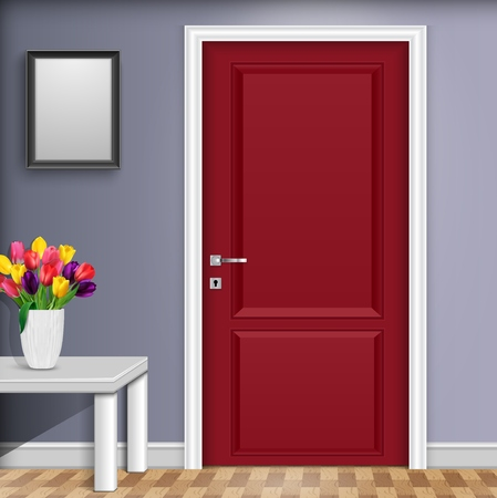 Vector illustration of Closed red door with vase and flowers over white table isolated on gray wall background Vettoriali