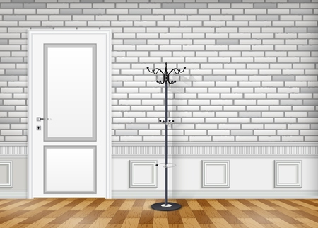 Vector illustration of White brick wall with a closed door and lantern Illustration