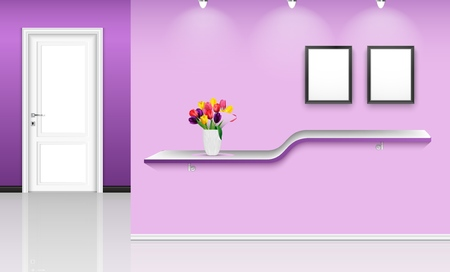 Vector illustration of Purple wall background with frames and flowers pot over shelf Vettoriali