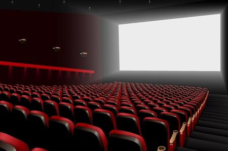 Vector illustratie van Cinema auditorium met rode stoelen en wit leeg scherm