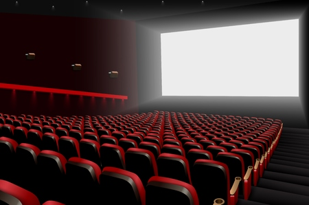 Vector illustration of Cinema auditorium with red seats and white blank screen Stock Vector - 92719307
