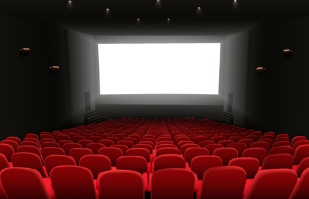 Vector illustration of Cinema auditorium with red seats and white blank screen