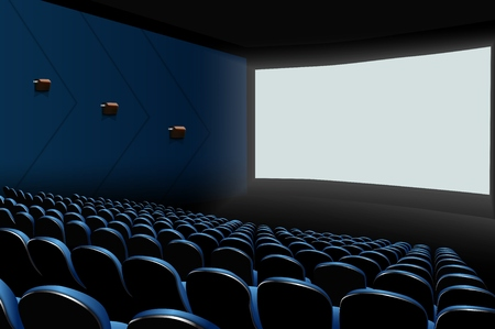 Vector illustration of Cinema auditorium with blue seats and white blank screen