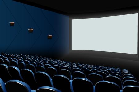 Vectorillustratie van Bioskoopauditorium met blauwe zetels en het witte lege scherm
