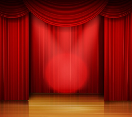 Vector illustration of Empty stage with red curtain and spotlight on wooden floor Illustration