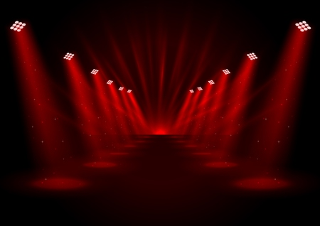 Vector illustration of Red spotlights with white podium on dark background Illustration