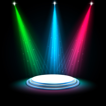 Vector illustration of Colorful glow spotlights background