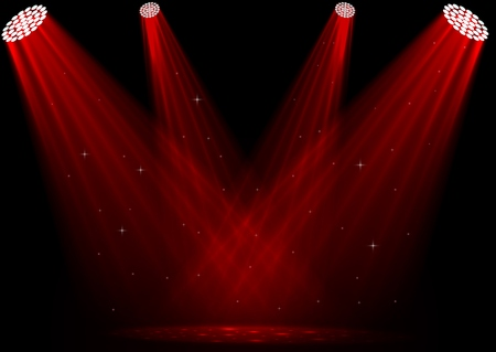 Vector illustration of Red spotlights on dark background
