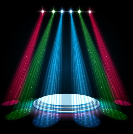 Projecteurs lueur colorée avec podium blanc sur fond sombre Banque d'images - 92736694