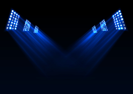 Vector illustration of Blue stage lights background Vectores