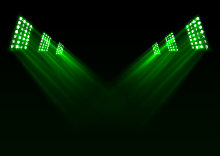 Vector illustration of green stage lights background.