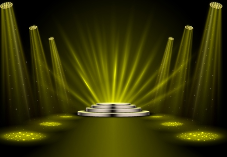 Gold spotlights with white podium on dark background