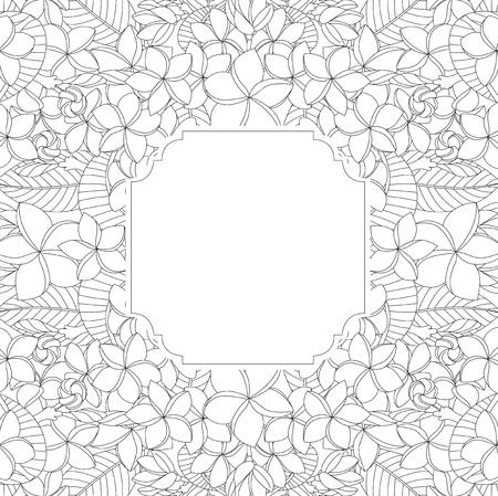 Vector illustration of Floral hand drawn frame on white background
