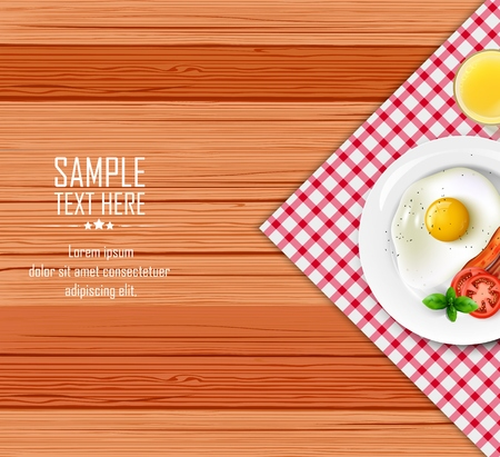Vector illustration of Breakfast table with fried egg and bacon on a white plate