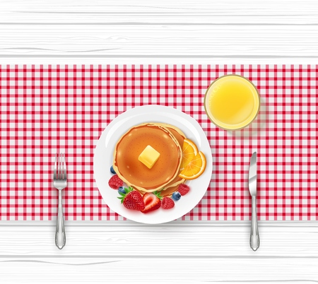 Vector illustration of Breakfast food menu with pancakes and berries on wooden table Çizim