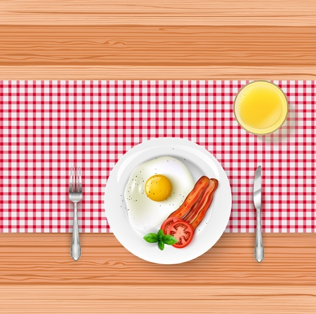 Vector illustration of breakfast menu with a fried egg, Bacon and orange juice on wooden table.
