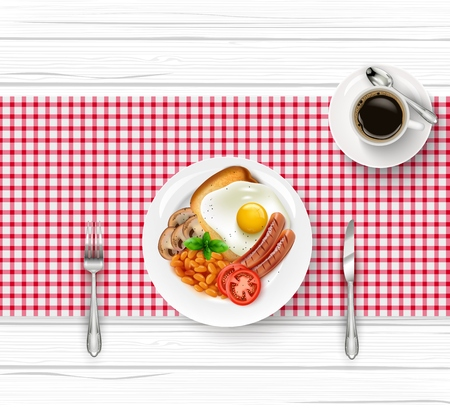 Vector illustration of breakfast table with fried egg and cup of black coffee on wooden table. Çizim