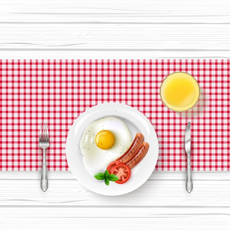 Vector illustration of Breakfast food menu with fried egg and bacon on wooden table