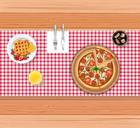 Food menu with pizza and waffle on wooden table
