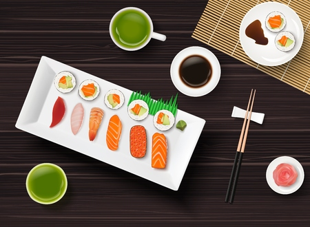 Vector illustration of Sushi, Japanese food on wooden table background