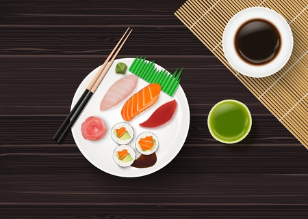 Vector illustration of sushi, Japanese food on wooden table background,