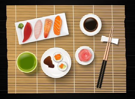 Vector illustration of sushi, Japanese food on wooden table background.