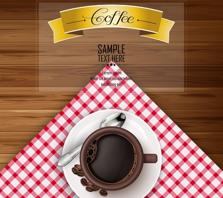 Cup of coffee with yellow ribbon and coffee beans on brown wooden background