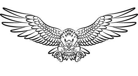 Vector illustration of Tribal eagle tattoo isolated on white background