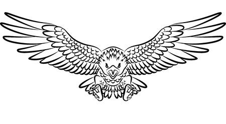 Illustration vectorielle de tatouage d'aigle tribal isolé sur fond blanc