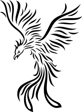 Vector illustration of Phoenix tattoo isolated on white background