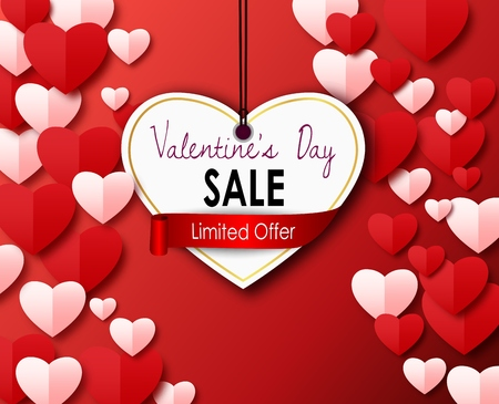 Vector illustration of Valentines day sale with paper cutting heart on a red background Illustration