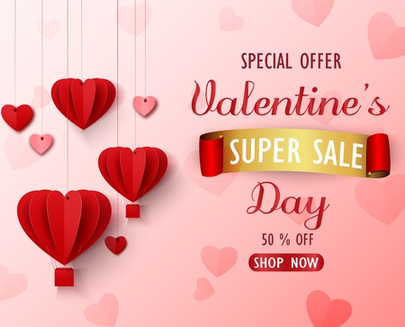 Vector illustration of Valentines day sale background with red folded paper heart shape balloon on pink backdrop