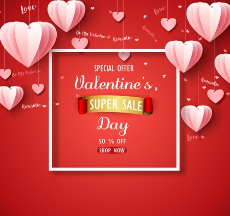 Vector illustration of Valentines day sale background with pink folded paper heart shape balloon on red backdrop Illusztráció