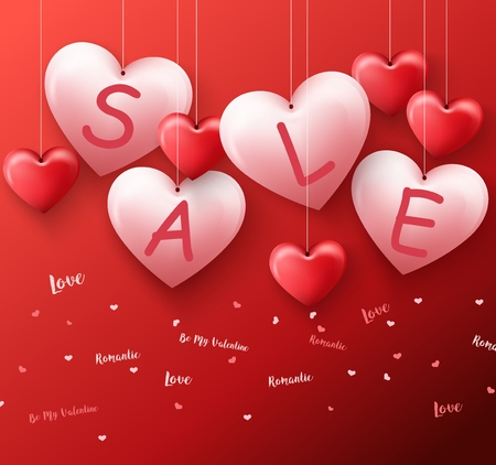 Hanging heart sale balloons for valentines day promotion in red background Stock Photo