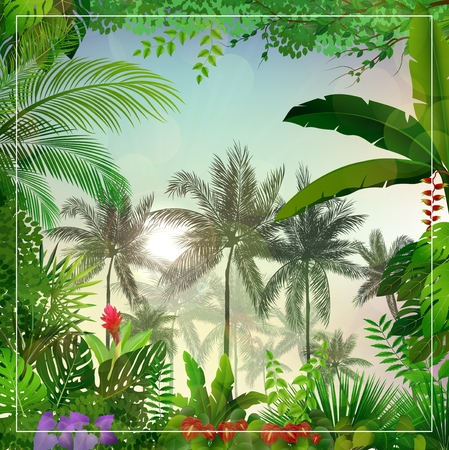Vector illustration of Tropical morning landscape with palm trees and leaves