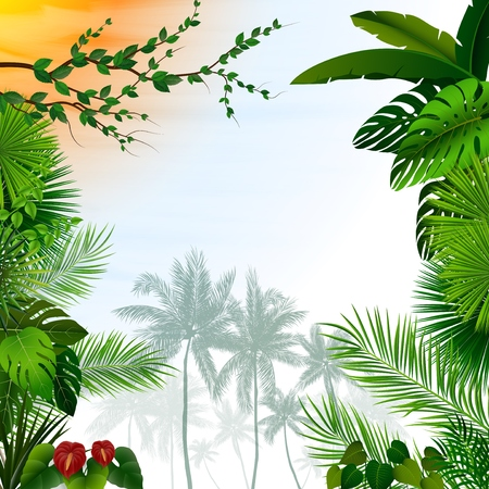 Vector illustration of Tropical landscape with palm trees and leaves Vektorové ilustrace
