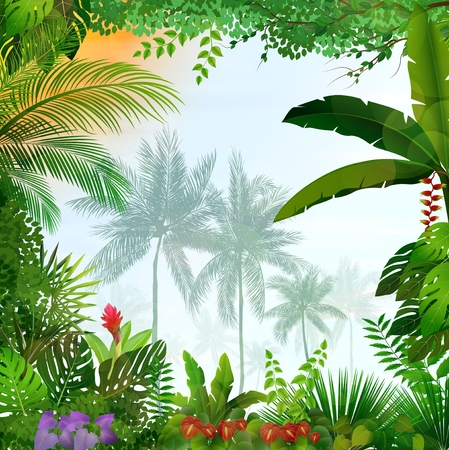 Colored tropical illustration on borders with coconut trees on far image in the middle.
