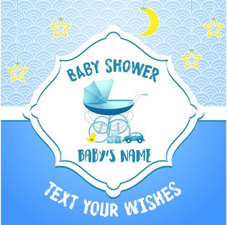 Vector illustration of Baby shower invitation card template Ilustracja