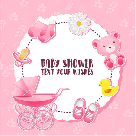 Vector illustration of Baby shower set. Invitation template with place for text