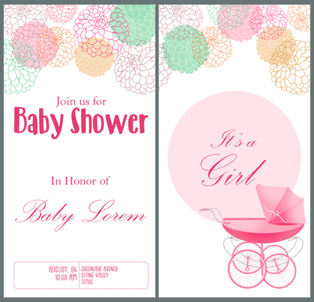 Vector illustration of Baby shower invitation card template. Vectores