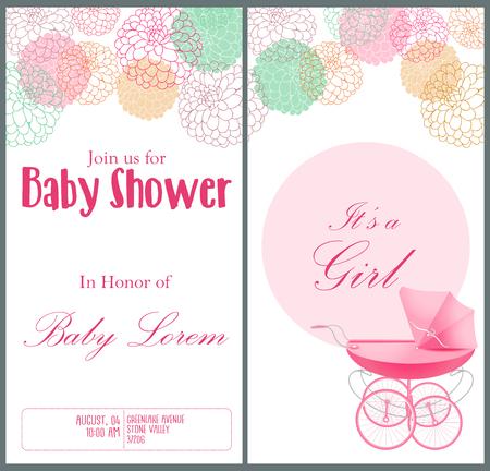 Vector illustration of Baby shower invitation card template. Ilustracja