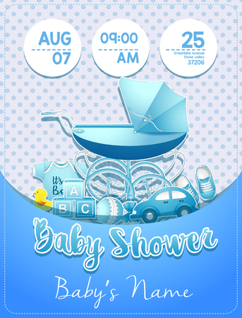Vector illustration of Baby shower boy invitation template with toys Illustration