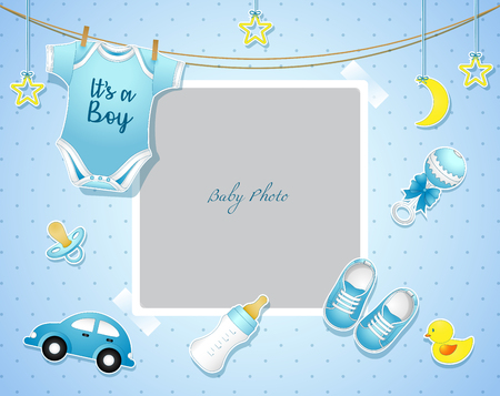 Vector illustration of baby shower card with blue baby items.